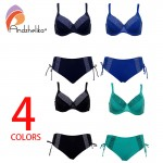 Andzhelika 2017 New Bikinis Women Solid Dot Patchwork Sexy Plus Size Swimwear Soft cups Bikini Set Bathing Suit Biquini AK17788