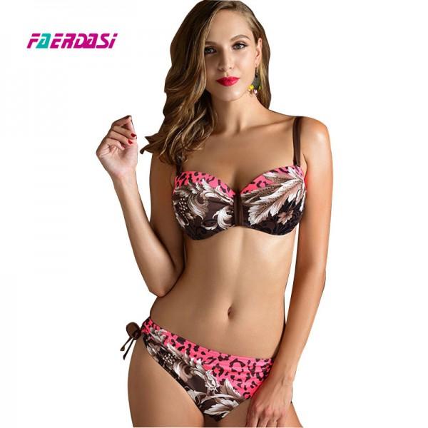 Faerdasi Sexy Women Bikini set Plus size Floral Print Biquini Woman Push up Beachwear Bandage Swimsuit Bandeau Bathing suit