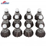 LYDOO 12pcs Portable Black Goose Feather Training Badminton Shuttlecocks Outdoor Sport Accessories