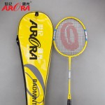 1 Pair of C-Al Composite Badminton Rackets with Wood Handle Bar 2Pcs/set Adult Child Badminton Shuttlecock Rackets with String