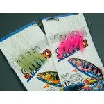 10 Bags Saltwater Fishing Rigs Sea Fishing Sabiki Lures Red Glow Shrimps Random Color