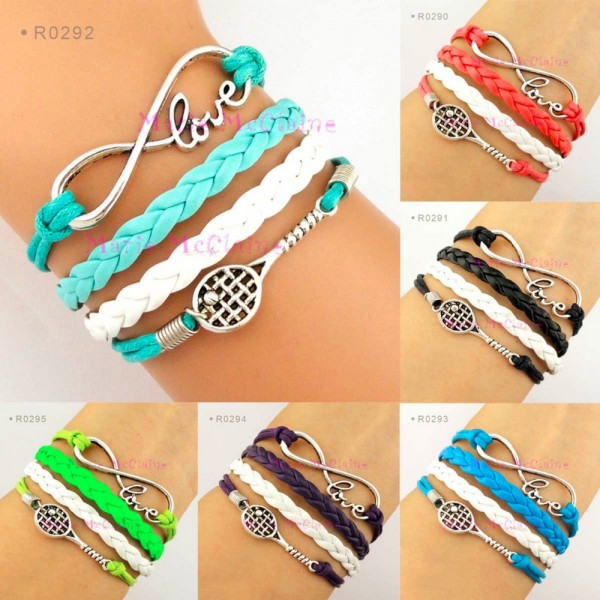 (10 pieces/lot) Infinity Love Tennis Bracelet Badminton Bracelet Tennis Racket Racquet Bracelet Blue Black Lime Green Purple