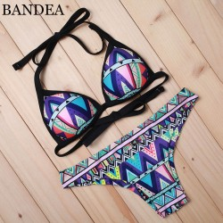 463192162b 2016 Summer Brand New Sexy Women Swimwear Printed Bikini Push Up Halter  Beachwear Swimsuit Padded AD891