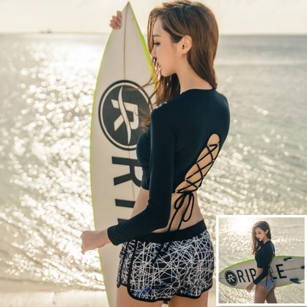 2017 Long Sleeve Women Swimwear 3 Pieces Sexy Bandage Swimsuit Black Padded bra Boxer Underwear Bathing Suit