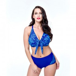 5f4319593e 2017 New plus size bikini women V neck high waist swimsuit female large  size swimwear push