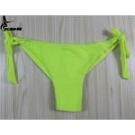 2017 Sexy Solid Thong Bikini Brazilian Cut Swimwear Women Bottom Adjustable Briefs Swimsuit Panties Underwear Thong Bathing Suit