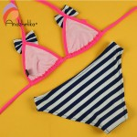Andzhelika 2017 New Bikinis Set Children's Swimsuit Cute Bow Solid striped Bottom Girls Swimwear Swimming Suit 10-16 year old