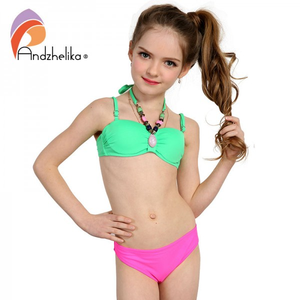 Andzhelika 2017 Summer Children's Swimwear Decoration Neck Girls Bikinis Set Push up Swimming Suit Kid Bathing Suit 317003