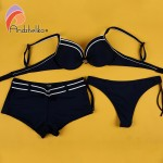 Andzhelika Sexy Bikinis Set Woman Solid Push up Swimsuit Sport bottom and Brazil bottom Summer Beach Swim Suits Maillot de bain