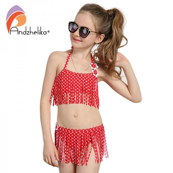 Andzhelika Summer Children's Swimwear 2017 New Girls Bikini Cute Dot Child Bikini Set Kids Tassel Swim Suit For Girl Swimwear