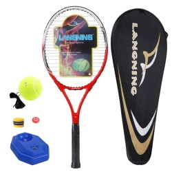 Lang Ning tennis racket men and women beginner carbon composite training package has been wearing red thread