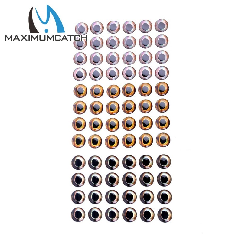 Maximucatch 24-252 Pieces 6 Sizes Fly Tying 4D Fishing Lure Fish Eyes Fly  Tying Lure Lure Making