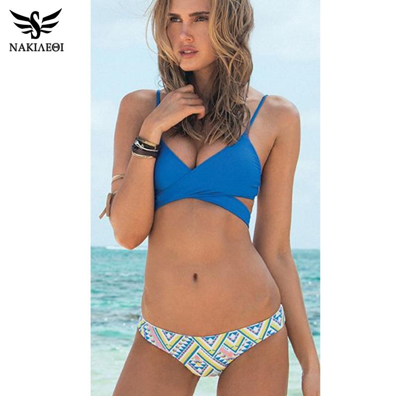 9e11ea0d07 NAKIAEOI 2017 Sexy Criss Cross Bikini Brazilian Bandage Swimsuit Women Push  Up Swimwear Bikini Set Wrap ...