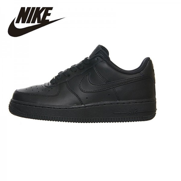 Nike Air Force 1 GS AF1 Original  Woman Classic All Black Anti-skid Cushioning Breathable Skatebroad Shoes  # 314192-117