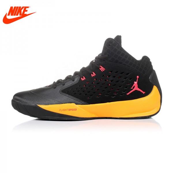 Original NIKE Jordan men's Breathable Cool Basketball Yellow and Black shoes sneakers