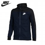 Original New Arrival  NIKE Men's Black Knitted Jacket Hooded Sportswear