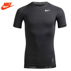Original New Arrival Authentic NIKE COOL Men's Tights Black T-shirts Short Sleeve Sportswear
