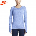 Original New Arrival Authentic NIKE DRI-FIT KNIT LONG SLEEVE Women's T-shirts Long sleeve Sportswear