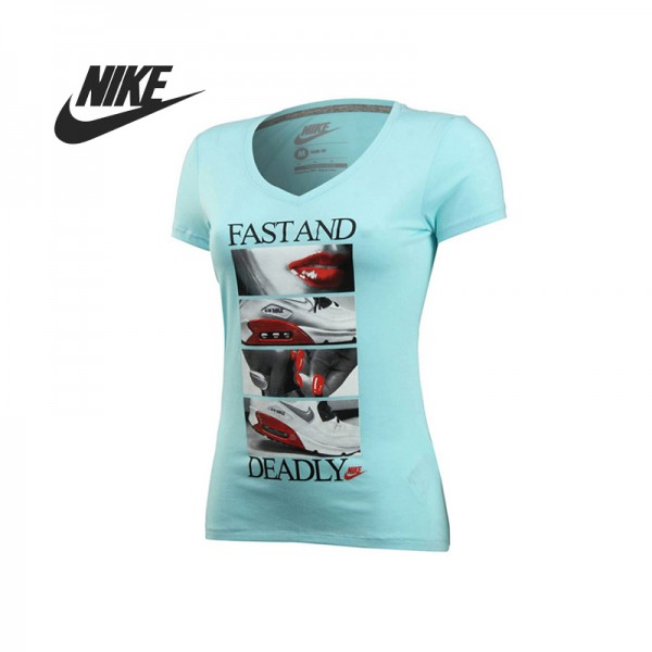 Original  Nike women's knitted T-shirts short-sleeved 589575-484 Sportswear free shipping