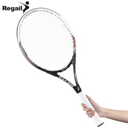 Tennis Competitive Training Racket Wire-wove Strings Shock Reduce Racket Golden Men Women Regular Grade Tennis Racket