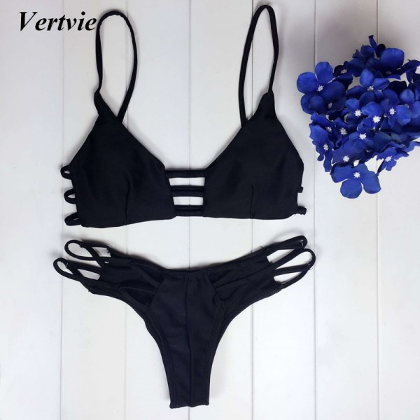 Vertvie Sexy Hollow Out Bikini Set Black Braided Rope Bangdage Push Up Swimsuit Women 2017 For Summer Party Beach Bath Swimwear