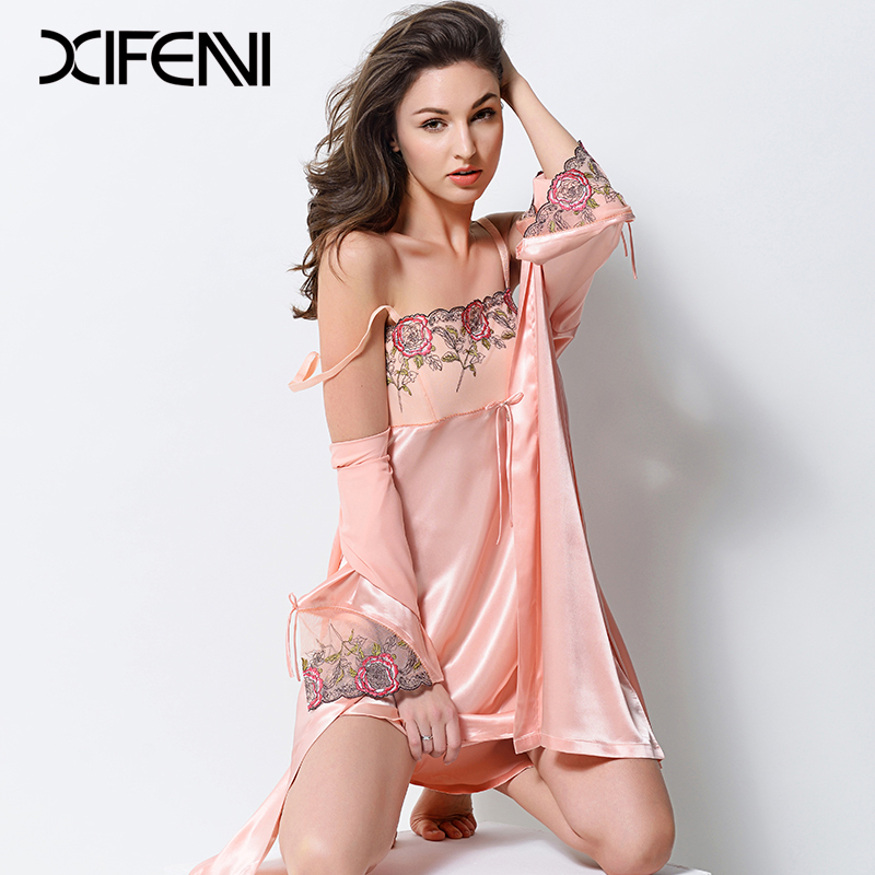 e3185a074701 XIFENNI Sexy Satin Silk Robe Sets With Chest Pad Women Faux Silk Nightgowns Embroidery  Lace Two-Piece Bathrobe Pijama Set 2701