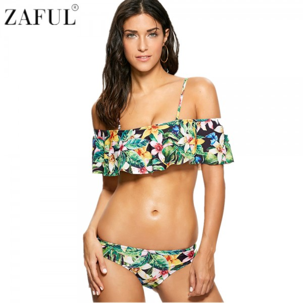 ZAFUL 2017 Women Sexy Off The Shoulder Floral Print Flounce Bikini Set Swimsuit Bathing Suit Biquinis Maillot De Bain Swimwear