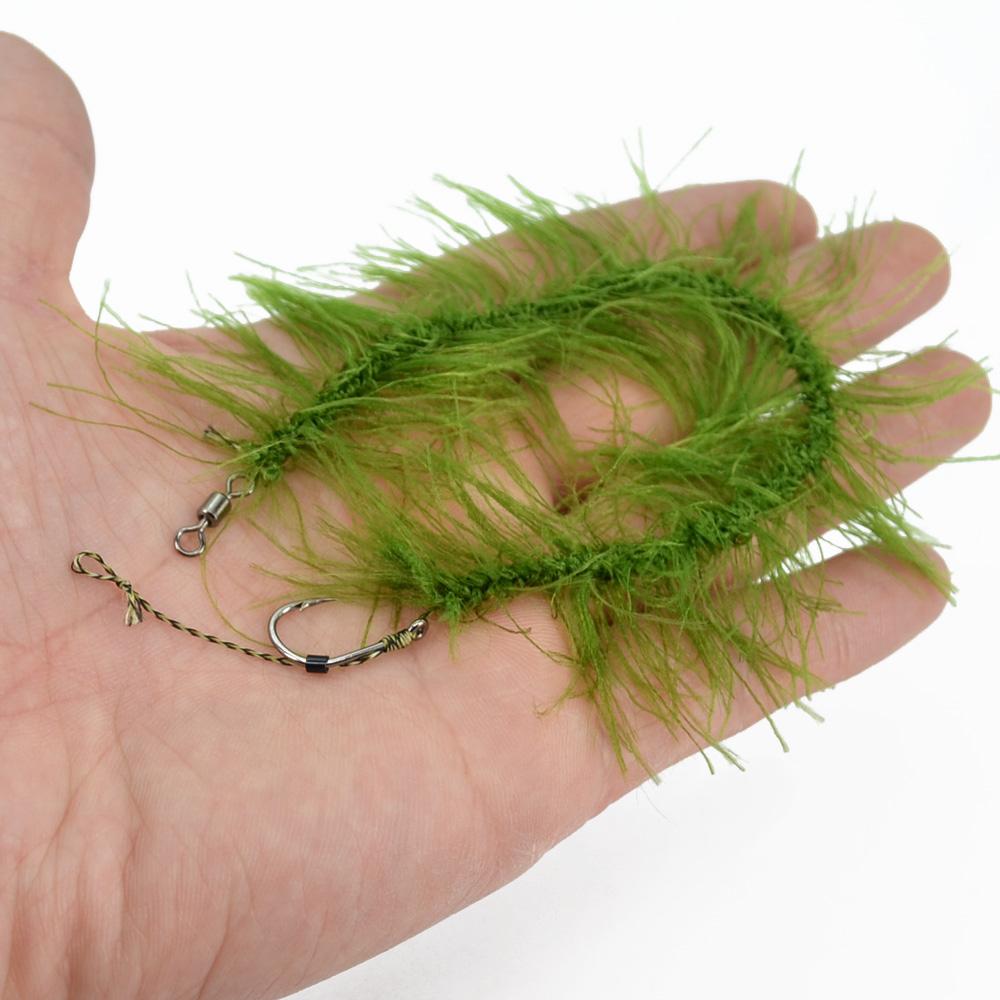 8pcs Hirisi Weed Carp Fishing Hook Ready Made Hair Combi Rig